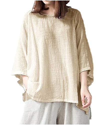 [ワン アンブ] リラックス ゆったり トップス 体型カバー さらさら 七分袖 tシャツ デカt 綿麻 M ~ XL レディース