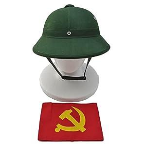 ベトナム軍 【 サンヘルメット OD色 + 旧ソ連エンブレム腕章 1枚 】 ベトコン 北ベトナム軍 ムゥ・コーイ ムウコーイ 人民軍 ベトナム戦争 NAM戦 越南 中越戦争 V001