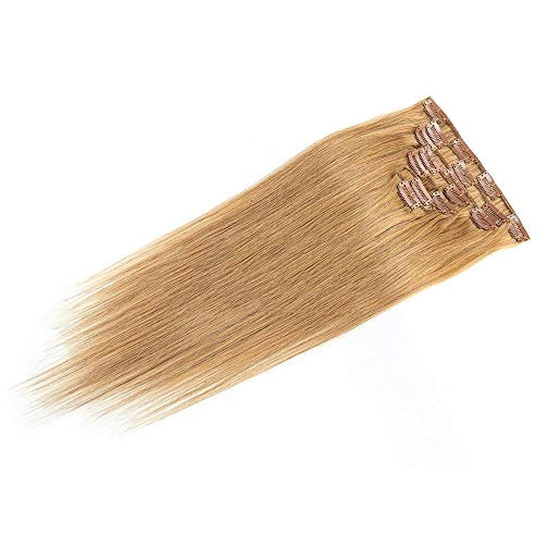 期限当社バラ色HOHYLLYA 18インチのクリップ人間の髪の拡張子7ピース18インチの本物の髪の拡張子クリップ#27ブロンドロールプレイングかつら女性の自然なかつら (色 : #27 blonde)