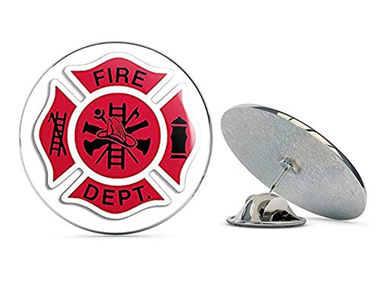 NYC Jewelers レッドホワイト&ブラック Fire Dept マルタ十字架型(消防士消防士)メタル0.75インチラペルハットピンタイタックピンバック