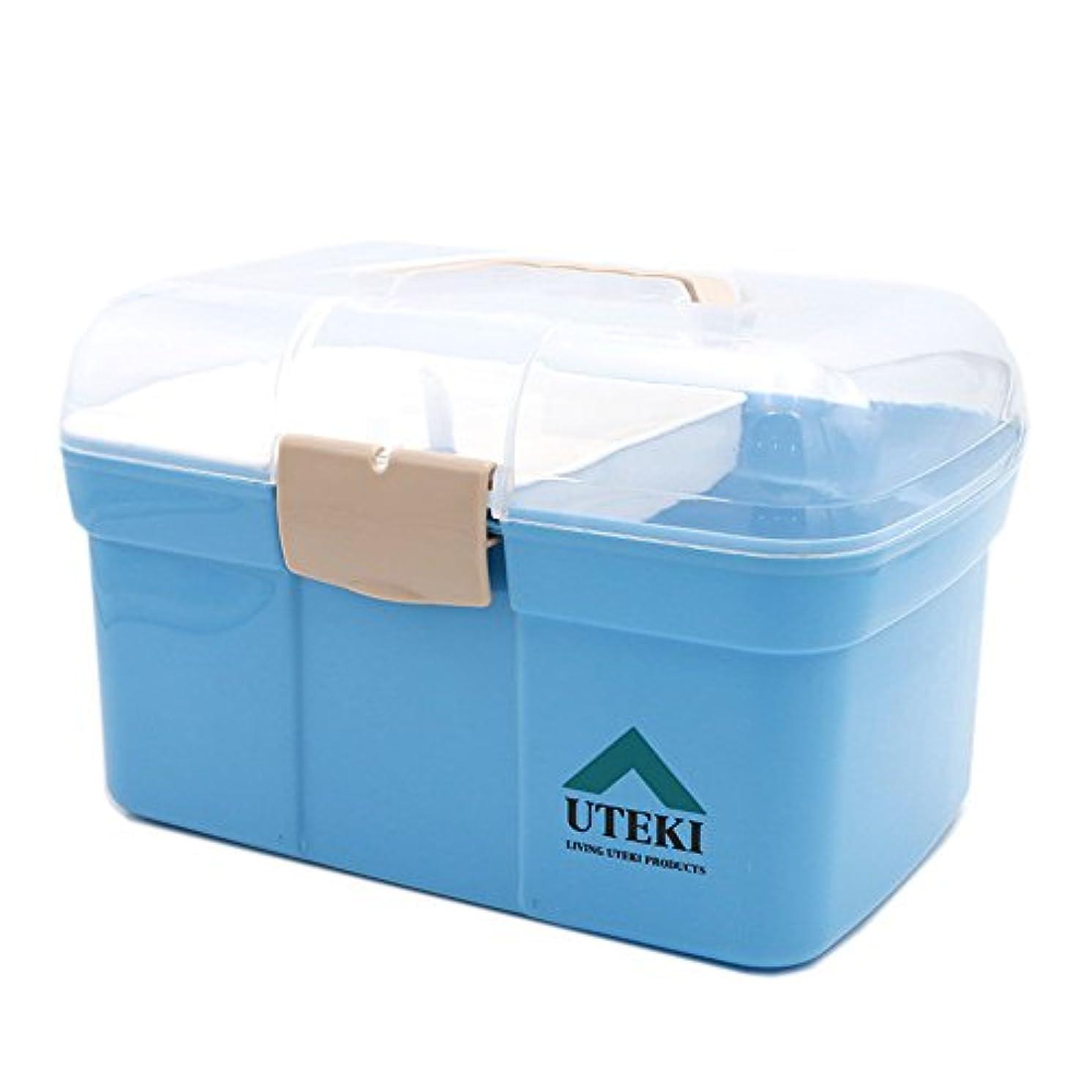 寄稿者疾患試用応急処置キット 収納応急処置用品収納ボックス応急処置キットプラスチックピル収納ボックスリムーバブルトレイ ストレージ救急用品 (Color : Blue)