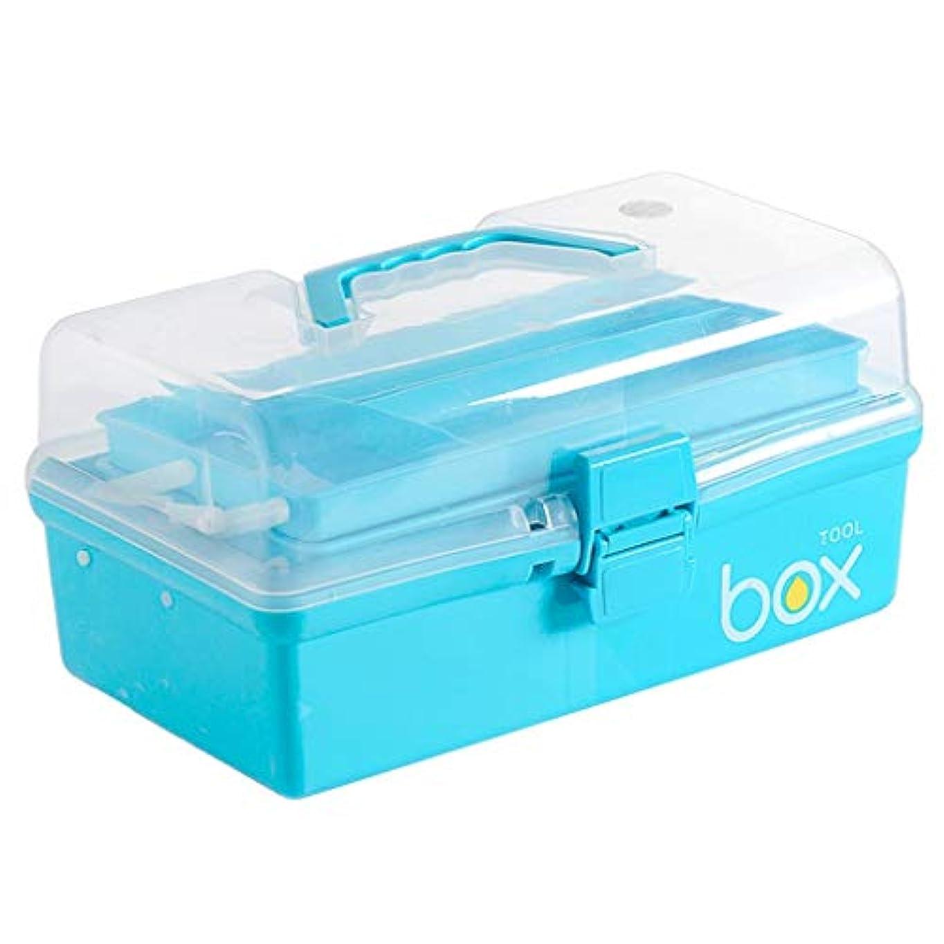 タヒチラッドヤードキップリングコンパイルDjyyh 応急処置キット収納ボックス、家庭用ポータブルピル薬医療収納ボックスオーガナイザー、旅行、キャンプ、オフィス (色 : 青)