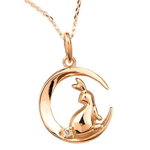 月 ウサギ ダイヤモンド ネックレス 10金 ピンクゴールド ペンダント K10PG 4月の誕生石 0.01ct