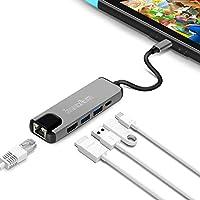 Nintendo Switch TYPE-C TO HDMI変換アダプター-innoAura 有線LAN アダプター 最強5in1機能 ドック 代わりコンバーター Type-C アダプター イーサネット有線 LAN 変換 5in1機能 高速データ伝送 急速充電 熱対策 コンパクト (グレー)