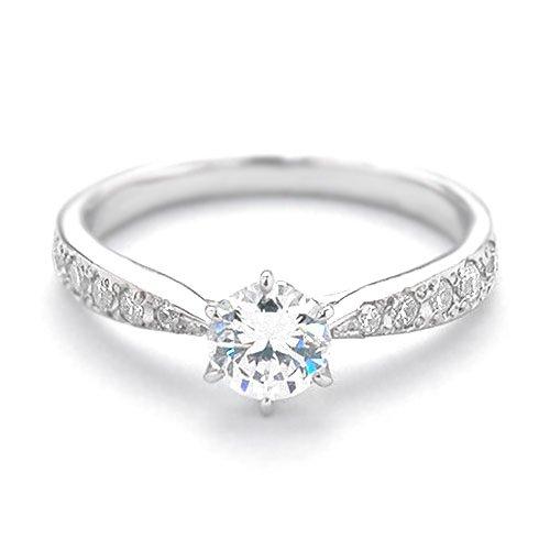 (ダイヤモンドワタナベ)Diamond Watanabe 卸直営オーダー作製 婚約指輪 エンゲージリング ダイヤモンド 0.331ct Eカラー SI1 EXCELLENT H&C 3EX プラチナ Pt900 鑑定書付き メレ 立て爪 日本国内加工 ご指定のサイズ 15号でお作りします