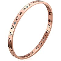 Jaline Fashion Classic Stainless Steel Roman Numeral Bangle Bracelet Women Jewelry,Rose Gold Color,Gold Color,Silver Color, 4.5mm Width