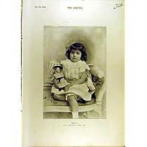 1896 のトロッコの子供の肖像画の Robina Crusoe の劇場のスケッチ