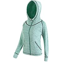 La Dearchuu Long Sleeve Full Zip Hoodie Quick Drying Fitness Jacket for Women
