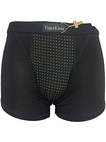 ヴィンスクラン モーダルコットンボクサーパンツ 男性用健康エネルギー磁石下着 通気性も伸縮性もいい  ケース付き (L, 黒)