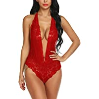 Ababoon Women Lingerie Floral Lace One Piece Bodysuit Halter Plunging Teddy Backless Baby Doll