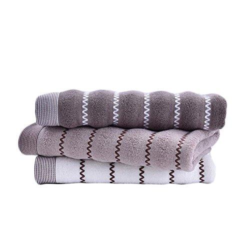 バスタオル モダンなデザイン 大判 速乾 ふわふわ綿100% 70×140cm 3枚セット バスタオル モダンなデザイン 大判 速乾 ふわふわ綿100% ホワイトとカーキ色と濃いカーキ色