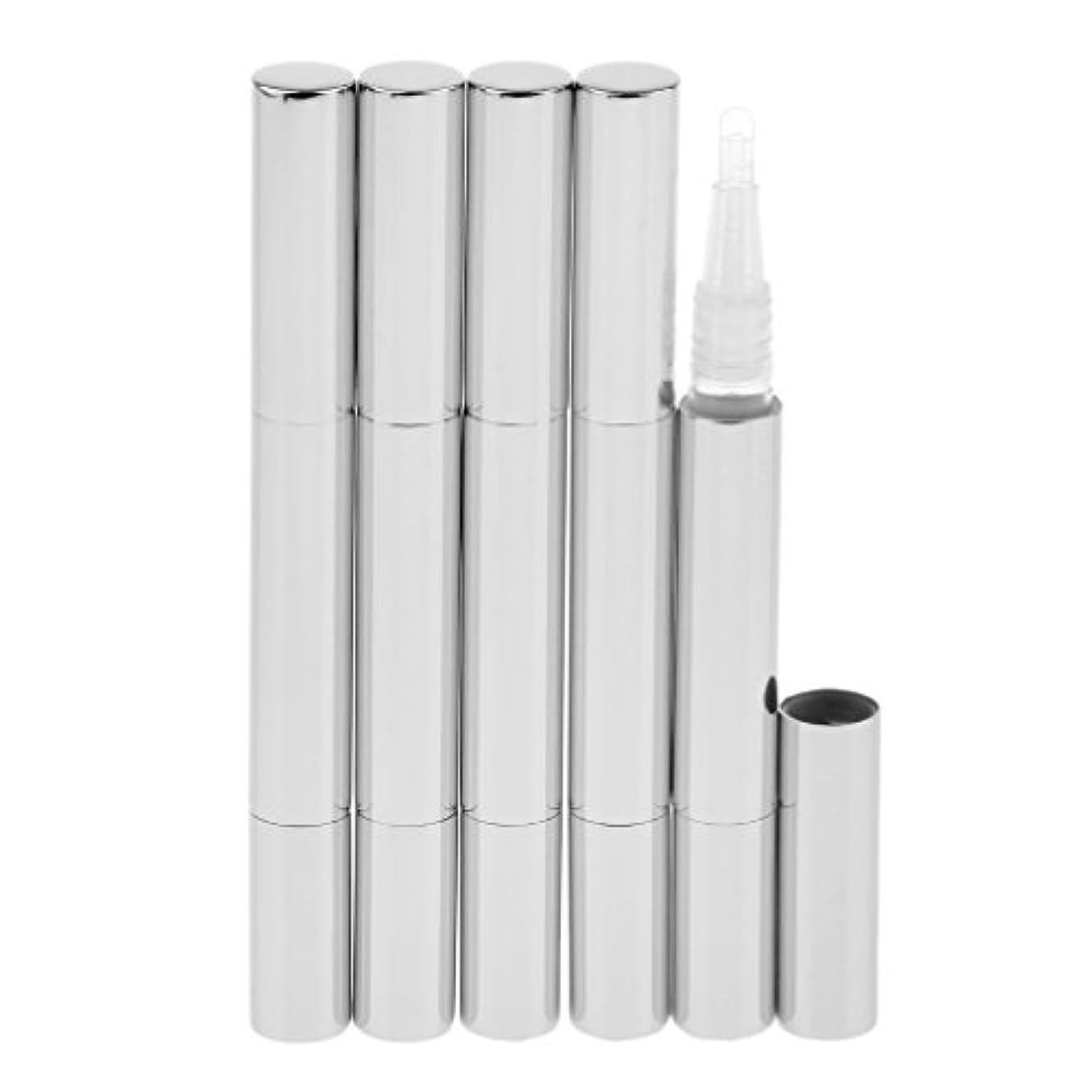 に頼る連隊フレッシュKesoto 5個 化粧品容器 空チューブ  3ml ネイルオイルペン リップグロスチューブ 旅行 化粧品コンテナ 5色選べる - 銀