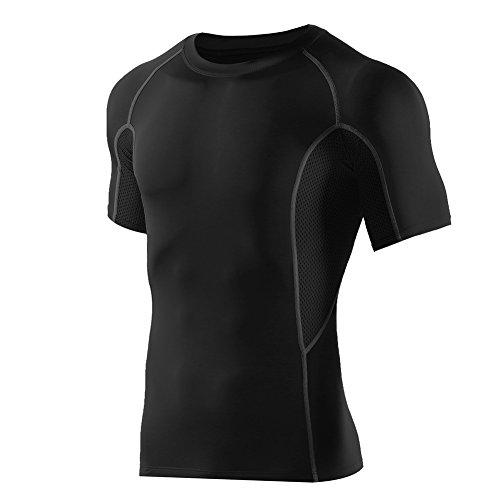 半袖 ラウンドネックスポーツシャツ コンプレッションウェア メンズ (XL, ブッラク/グレーダークグレー)