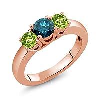 Gem Stone King 1.15カラット 天然 ブルーダイヤモンド 天然石 ペリドット シルバー925 ピンクゴールドコーティング 指輪 リング
