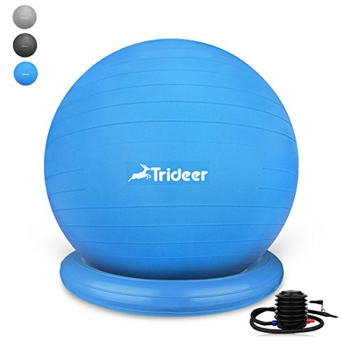 Trideer バランスボールセット(ブルー, トレーニングリング付き)