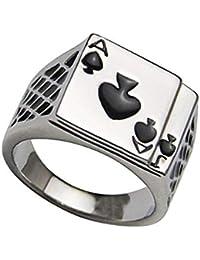 [ウンセン] 指輪 メンズ アクセサリー プレゼント デザイン リング 男性用 結婚式 イケメン 軽量 かっこいい 調節可能 恋人 ホワイト F
