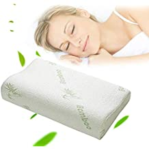 Bamboo Pillow - Contour Sleeping Memory Foam Pillow Orthopedic Anti Snore to Prime Soft Supportive Comfortable Washable Memory Foam Sleep Pillow 50×30cm