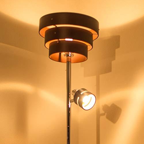【大人の空間を作る間接照明 おしゃれスタンドライト】 LED対応 2方向型 アッパーライト スポットライト 木目デザイン 北欧風 フロアライト ブラウン 2灯アッパータイプ