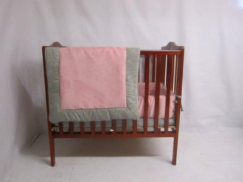 Baby Doll Bedding Zuma Mini Crib/ Port-A-Crib Bedding Set, Grey/Pink by BabyDoll Bedding