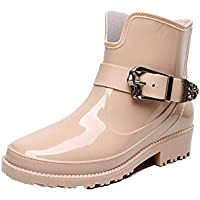 MEIGUIshop Rain Boots - Short Boots Flat with Waterproof Low to Help Water Shoes rain Boots Overshoes