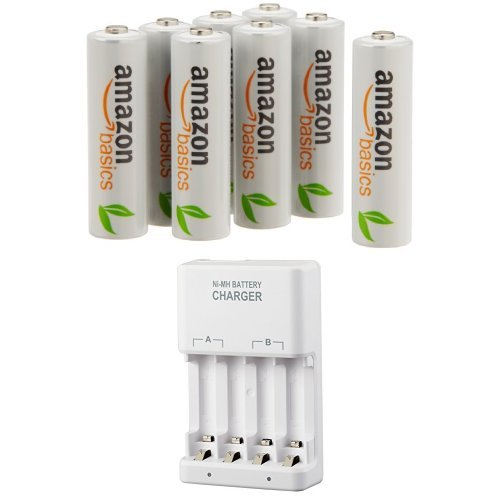 Amazonベーシック 充電式ニッケル水素電池 急速充電器セット 単3形充電池8個パック付