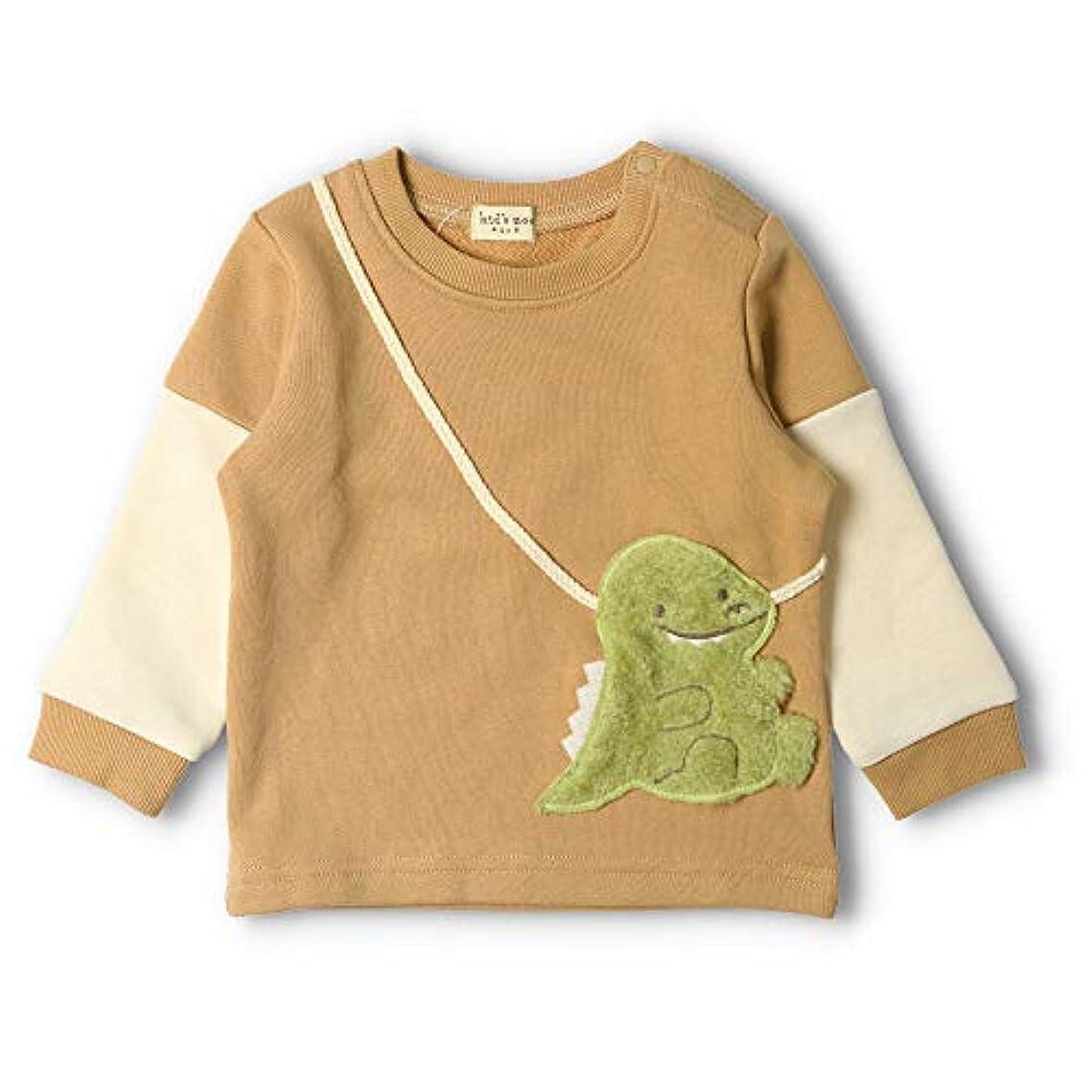 天井イサカ限られた【子供服】 kids zoo (キッズズー) ボア恐竜ポシェット風裏毛トレーナー 70cm~95cm W52601