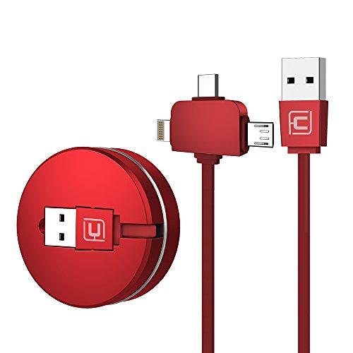 CAFELE ライトニングケーブル USB Type-Cケーブル3in1 充電ケーブル 巻き取り式 長さ1m iPhone x/iPhone8/iPhone7/iPadなど充電対応 データ転送ケーブル (赤色)