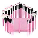 メイクブラシ32本 セット フェイスブラシ 化粧筆 化粧ブラシ おしゃれ 超柔らかい 高級繊維毛 化粧ポーチ付き 高級タクロン 日常の化粧 集まる化粧(ピンク)