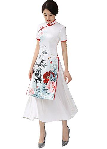 [해외](상하이 이야기) Shanghai Story 긴 길이 치파오 여성 차이나 옷 베트남 전통 ??의상 아오자이 칼라 반팔 여성 중화 풍 베트남 드레스 중국 드레스 차이나 풍 원피스/(Shanghai Story) Shanghai Story Long Length Chinese Dress Female China Cloth...