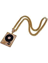 +Re DJ ターンテーブル ネックレス 【 ブリンブリン ゴールド&シルバー 】 B-BOY/Hip Hop/ラッパー / メンズ アクセサリー