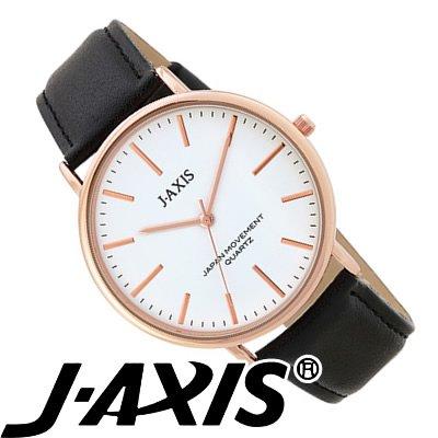 J-AXIS レディース 腕時計 レザー シンプル&ビッグフェイス おしゃれで女性に人気 ブラック BG1127-BK