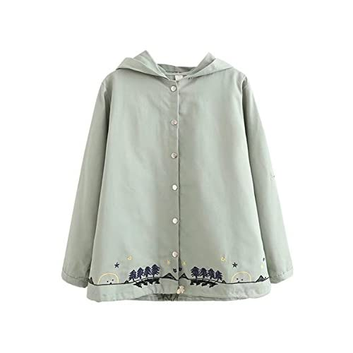 (アチックガール)Achicgirl レディース ゆったり 長袖 可愛い シンプル マント型 体型カバー ゆったり 森ガール 刺繍 綿フード付き コート