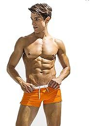 マルチカラー メンズビーチパンツ クールスポーツパンツ シーサイドリゾート (色 : オレンジ, サイズ : M)
