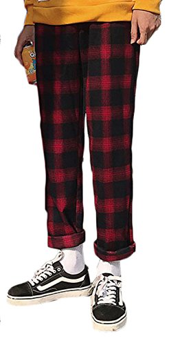 BaSen メンズ カジュアルパンツ 秋 冬 ファッション おしゃれ チェック柄 チノパンツ 韓国風 大きいサイズ ゆったり ロングパンツレッドbs2