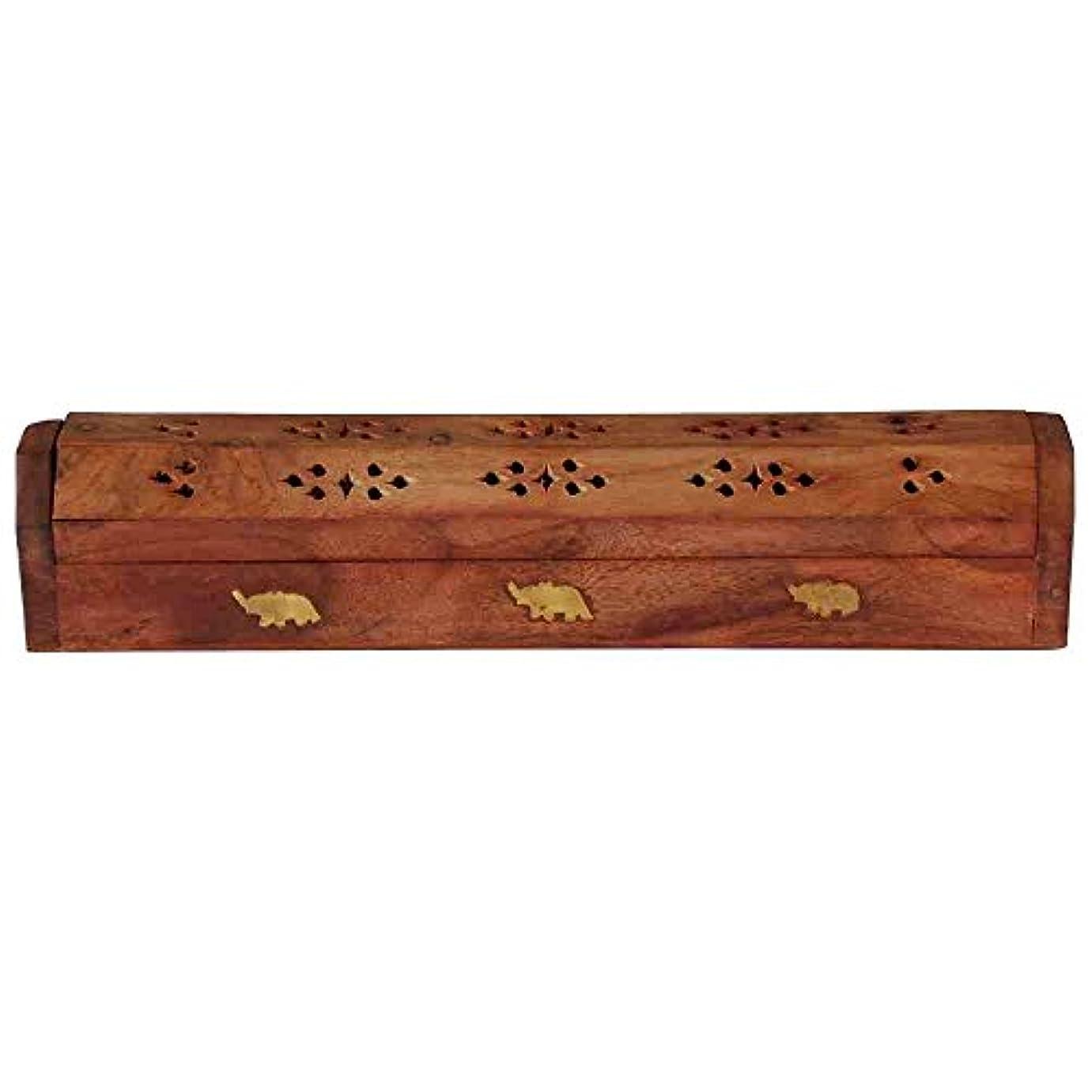 ホームDecor Wooden Carved Incense Sticks Burner Ashキャッチャーホルダー、木製の棺香炉
