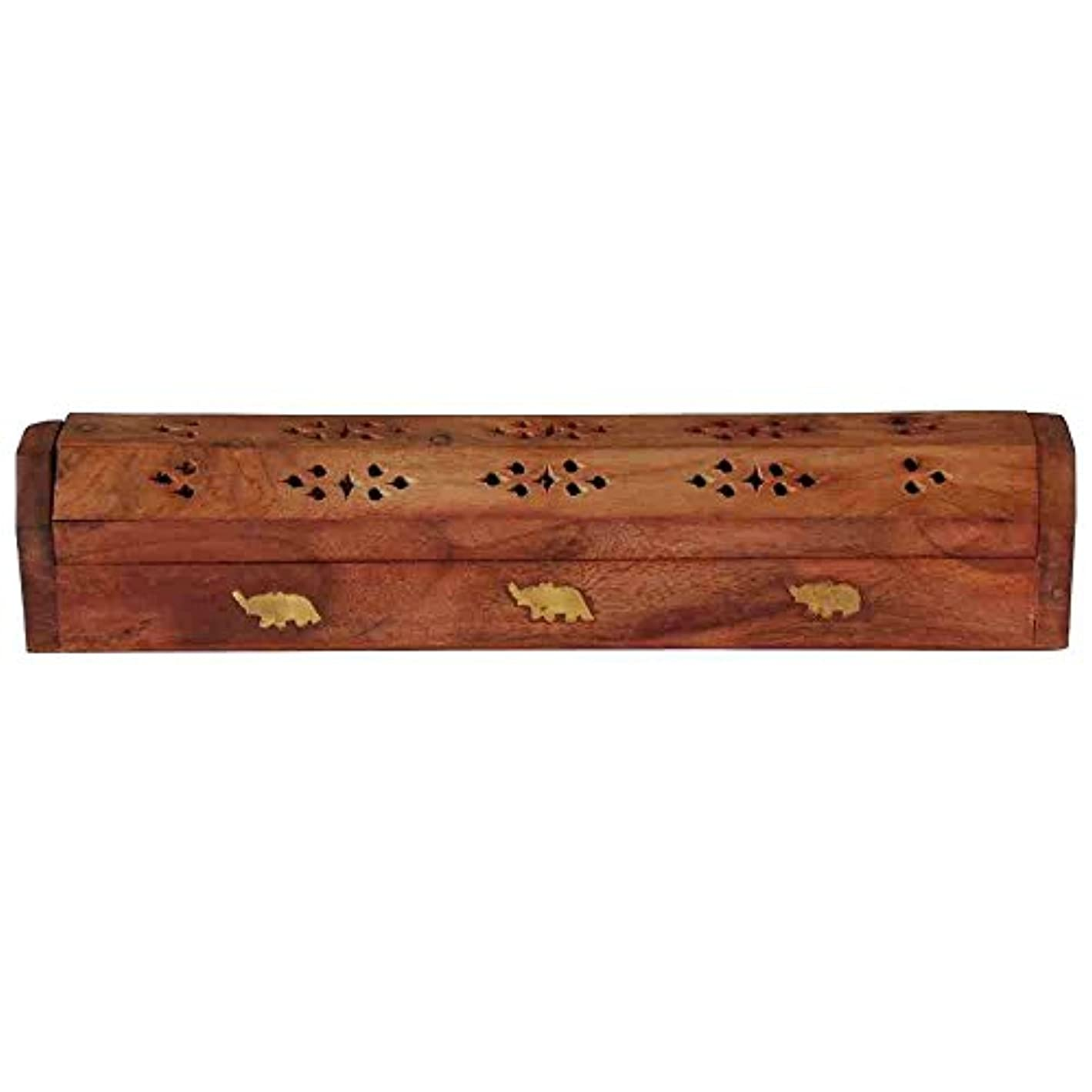 卒業記念アルバムにぎやか発火するホームDecor Wooden Carved Incense Sticks Burner Ashキャッチャーホルダー、木製の棺香炉