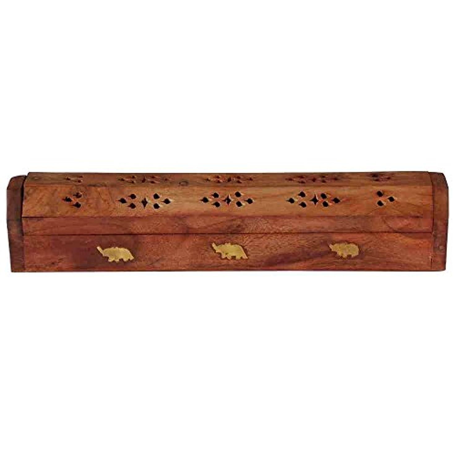動かす帆消防士ホームDecor Wooden Carved Incense Sticks Burner Ashキャッチャーホルダー、木製の棺香炉
