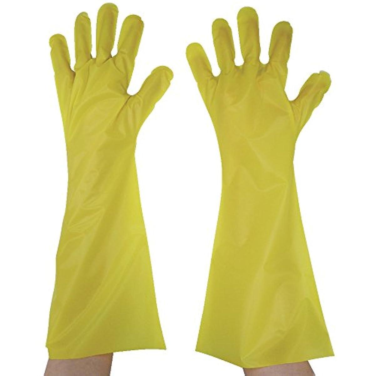 現実的習字透過性東京パック エンボス手袋ロング五本絞り イエロー L YL45L ポリエチレン使い捨て手袋