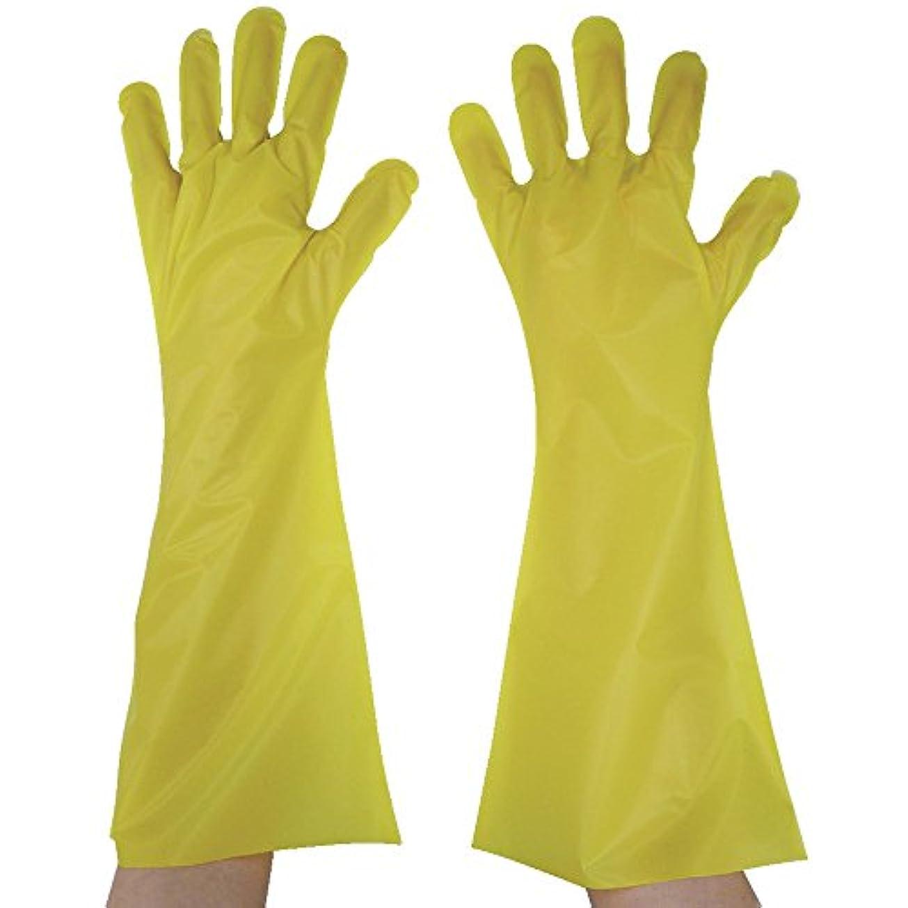 アカデミックハイブリッドアソシエイト東京パック エンボス手袋ロング五本絞り イエロー L YL45L ポリエチレン使い捨て手袋