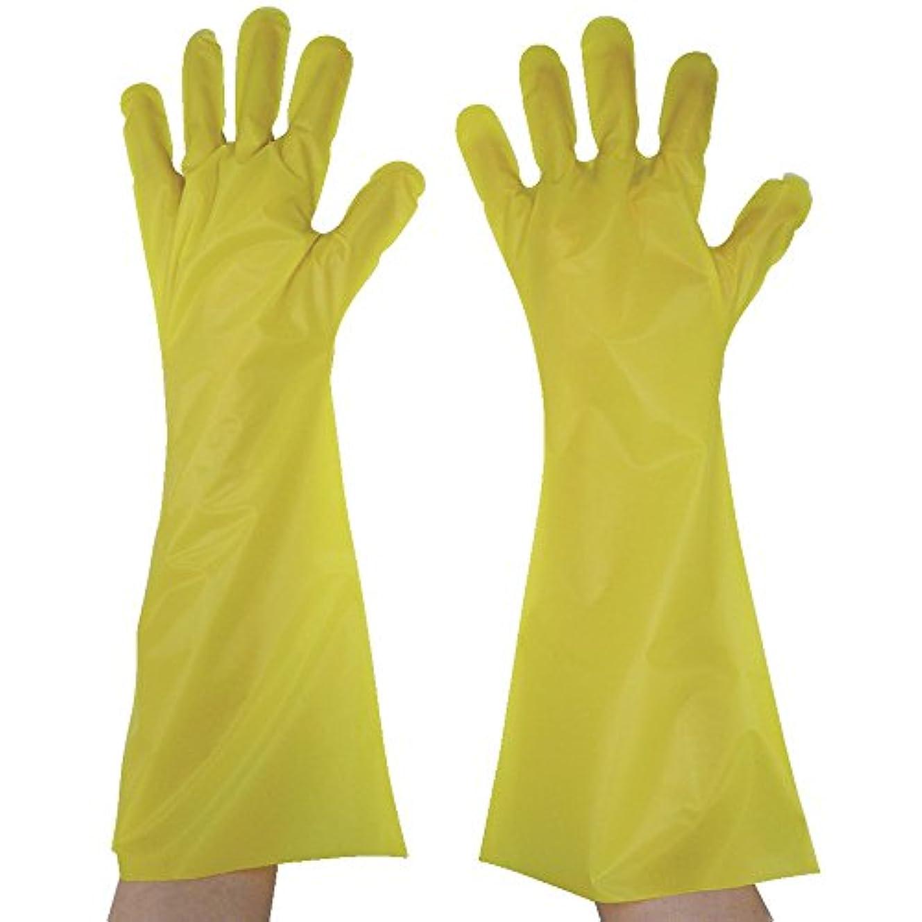 議論する険しい最終東京パック エンボス手袋ロング五本絞り イエロー L YL45L ポリエチレン使い捨て手袋