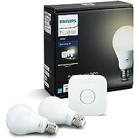 Philips Hueホワイトa1960W相当調光機能付きLEDスマートライト電球スターターキット(2a1960Wホワイト電球と1ブリッジ、Compatible with Alexa、Apple HomeKit、アシスタントGoogle (認定Refurbished)