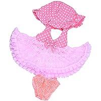 Lovoski 人形用 かわいい ピンク レースドレス&パンツ&帽子 セット 服 18インチ アメリカンガールドール対応 装飾