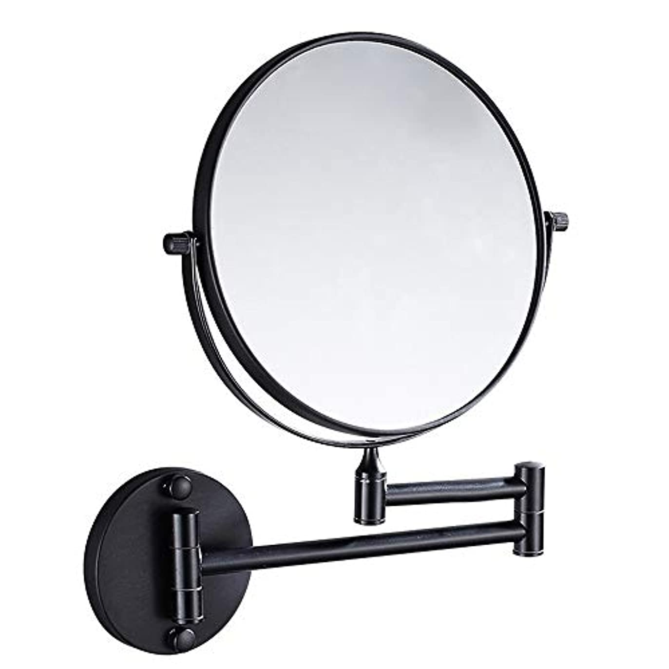 流行の ブラック銅ミラー浴室壁掛け折りたたみ美容ミラー両面望遠鏡拡大鏡8インチパンチフリー