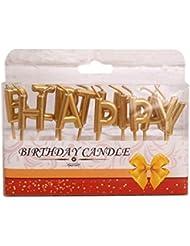 Bestoyard 誕生日 キャンドル happy birthday型 バースデーキャンドル ケーキ用ろうそく 誕生日 パーティー クリスマス(ゴールデン)
