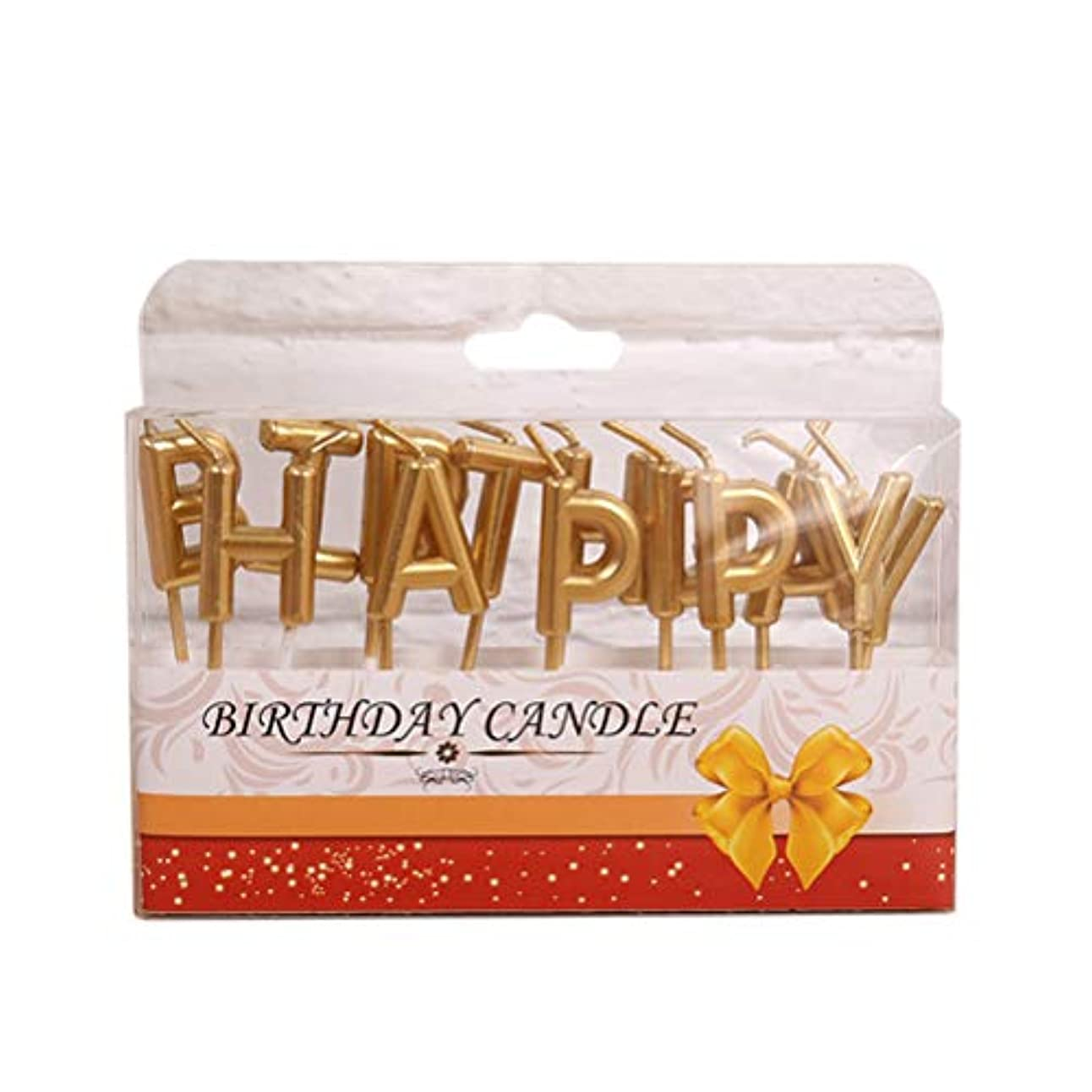 寄り添う接触海洋Bestoyard 誕生日 キャンドル happy birthday型 バースデーキャンドル ケーキ用ろうそく 誕生日 パーティー クリスマス(ゴールデン)