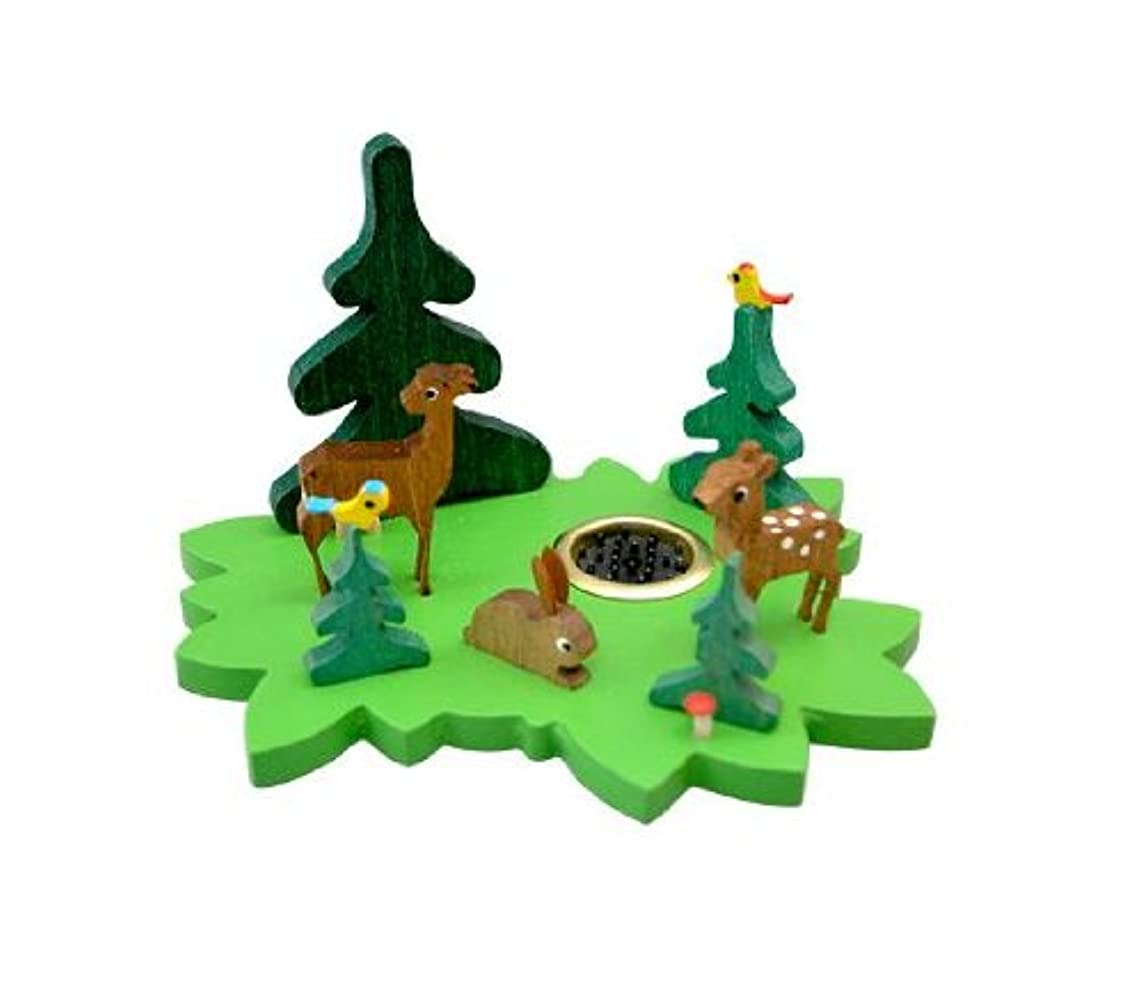 動かす風刺受動的インセンススタンド 森の動物 グリーン