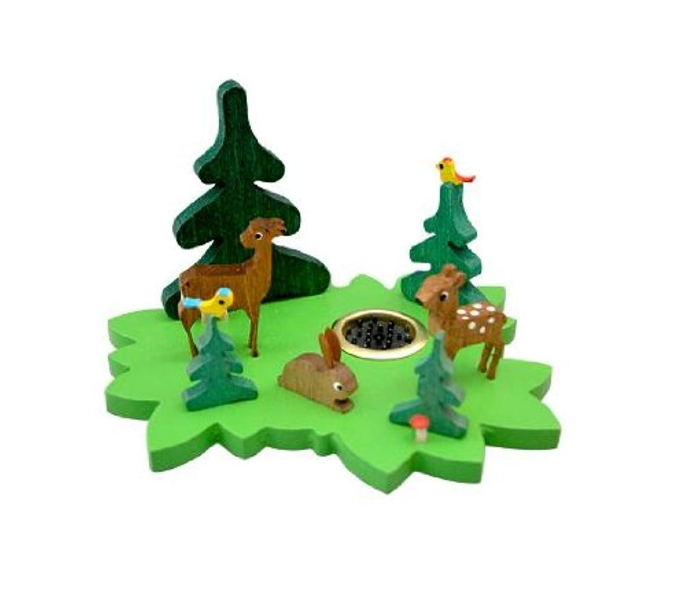 完璧一追放するインセンススタンド 森の動物 グリーン