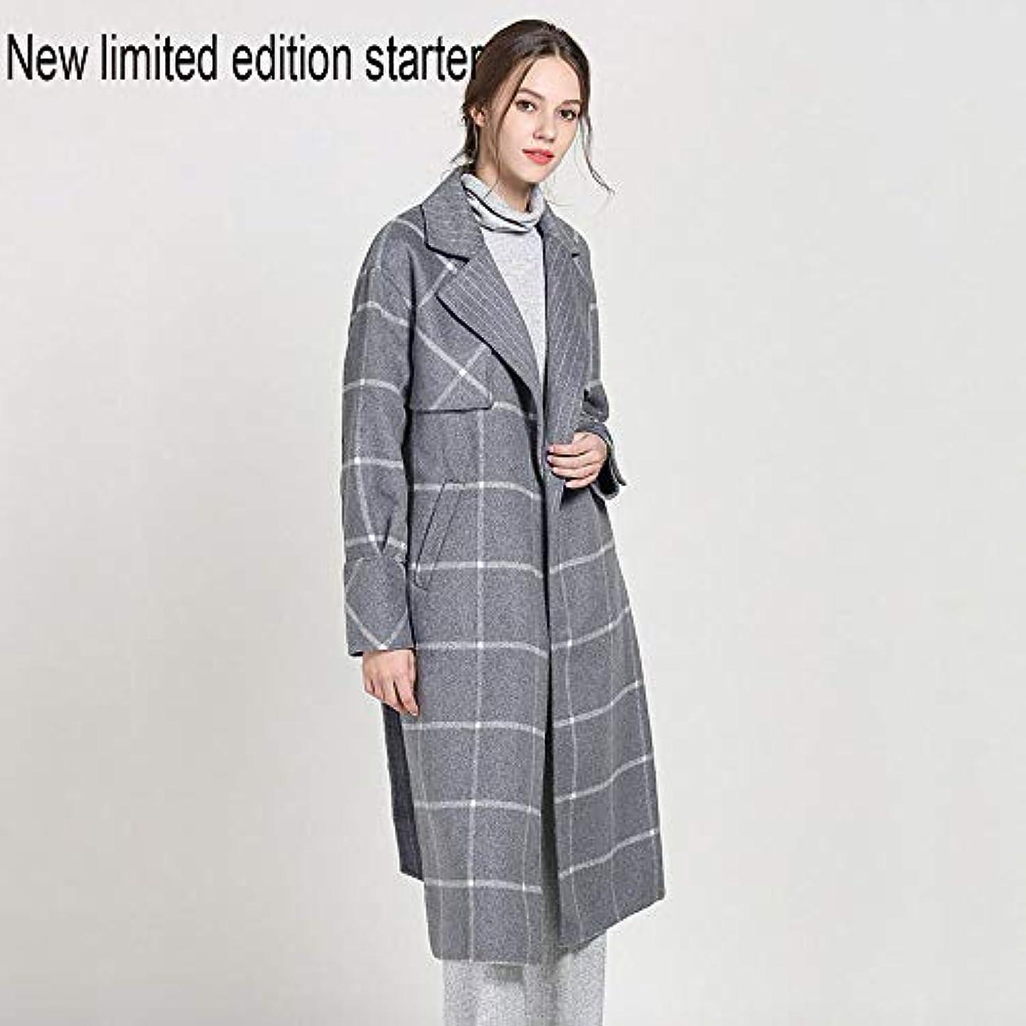 モットー情緒的印刷する新しい女性用カシミヤコート、両面チェック柄ロングコートスーツラペルウールコートヴィンテージレディース女性のうれしそうな冬ジャケットコート,S