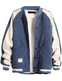 chenshiba-JP メンズコーデュロイボンバージャケットカジュアルスリムフィットカラーブロックアウターウェアコート