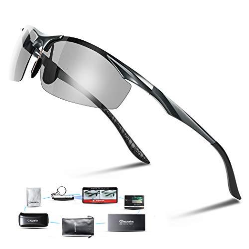 Glazata 変色調光サングラス 偏光レンズ ハーフフレーム 超軽量 UV400 紫外線カット 偏光サングラス 自転車/釣り/野球/テニス/スキー/ランニング/ゴルフ/ドライブ (灰色)